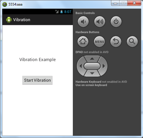 Android Tutorial : Vibration/Virbrate Phone Example