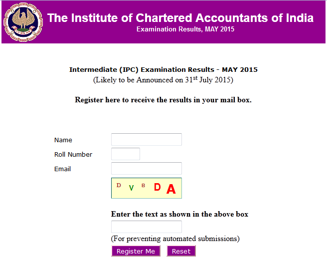 ICAI CA IPCC Exam May 2015 Result Declared on 31 July 2015