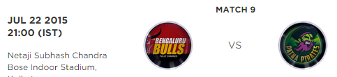 PKL 2 Match 9 Bengaluru Bulls vs Patna Pirates Live Score Board 2015