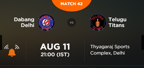 Pro Kabaddi 2 Match 42 Delhi vs Hyderabad Live Score Team Squad