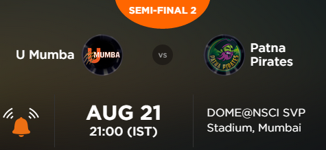 Pro Kabaddi 2 Match 58 Semi Final 2 Mumbai vs Patna Live Score Team Squad