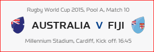 Rugby World Cup RWC 2015 Australia vs Fiji Pool A Match 10 Live Score Result Team Squad