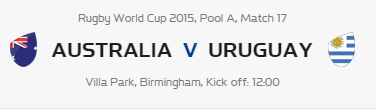 Rugby World Cup RWC 2015 Australia vs Uruguay Pool A Match 17 Live Score Result Team Squad
