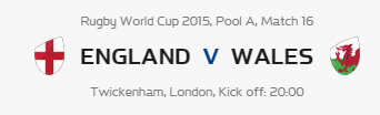 Rugby World Cup RWC 2015 England vs Wales Pool A Match 16 Live Score Result Team Squad