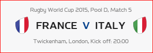 Rugby World Cup RWC 2015 France vs Italy Pool D Match 5 Live Score Result Team Squad