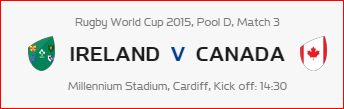 Rugby World Cup RWC 2015 Ireland vs Canada Pool D Match 3 Live Score Result Team Squad