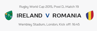 Rugby World Cup RWC 2015 Ireland vs Romania Pool D Match 19 Live Score Result Team Squad