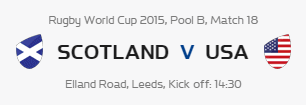Rugby World Cup RWC 2015 Scotland vs USA Pool B Match 18 Live Score Result Team Squad