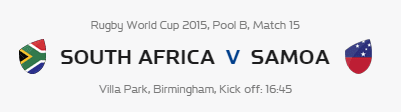Rugby World Cup RWC 2015 South Africa vs Samoa Pool B Match 15 Live Score Result Team Squad