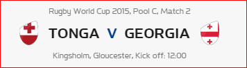 Rugby World Cup RWC 2015 Tonga vs Georgia Pool C Match 2 Live Score Result Team Squad
