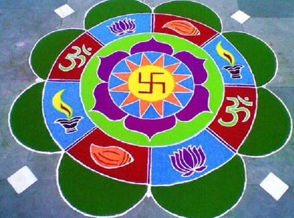 Happy Dussehra Navratri 2015 Best Unqiue Rangoli Images Wallpapers