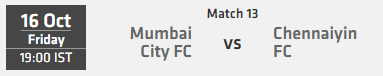 Indian Super League ISL 2015 Match 13 Mumbai vs Chennai Live Score Team Squad