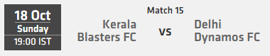Indian Super League ISL 2015 Match 15 Kerala vs Delhi Live Score Team Squad