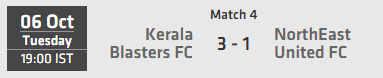 Indian Super League ISL 2015 Match 4 Kerala vs North East Live Score Team Squad