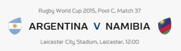 Rugby World Cup RWC 2015 Argentina vs Namibia Pool C Match 37 Live Score Result Team Squad