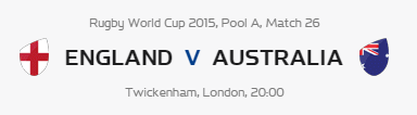 Rugby World Cup RWC 2015 England vs Australia Pool A Match 26 Live Score Result Team Squad
