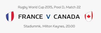 Rugby World Cup RWC 2015 France vs Canada Pool D Match 22 Live Score Result Team Squad