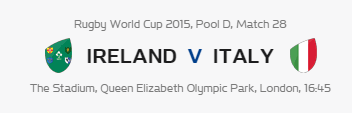 Rugby World Cup RWC 2015 Ireland vs Italy Pool D Match 28 Live Score Result Team Squad