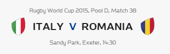Rugby World Cup RWC 2015 Italy vs Romania Pool D Match 38 Live Score Result Team Squad