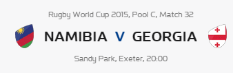 Rugby World Cup RWC 2015 Namibia vs Georgia Pool C Match 32 Live Score Result Team Squad