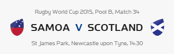 Rugby World Cup RWC 2015 Samoa vs Scotland Pool B Match 34 Live Score Result Team Squad