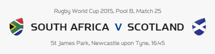 Rugby World Cup RWC 2015 South Africa vs Scotland Pool B Match 25 Live Score Result Team Squad