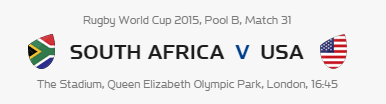 Rugby World Cup RWC 2015 South Africa vs USA Pool B Match 31 Live Score Result Team Squad