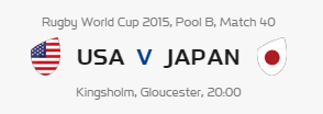 Rugby World Cup RWC 2015 USA vs Japan Pool B Match 40 Live Score Result Team Squad