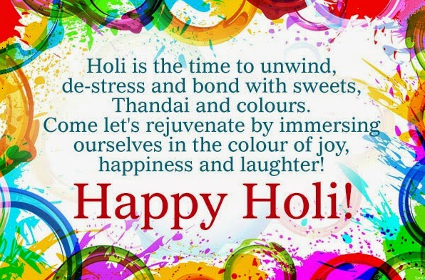 Happy Holi One Single Line Short SMS Greetings