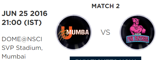Pro Kabaddi PKl 4 Match 2 Mumbai vs Jaipur Live Highlights Result Score Team Squad