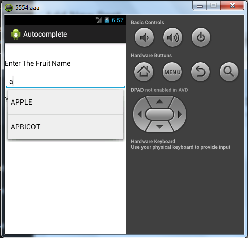 Android Tutorial : Example of AutoComplete Textview