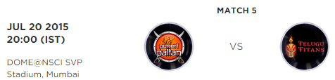 Pro Kabbadi 2 Match 5 Puneri Paltan vs Telugu Titans Highlights Result Score Board 2015