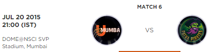 PKL 2 Match 6 U Mumba vs Patna Pirates Live Score Board 2015