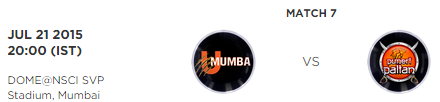 Pro Kabbadi 2 Match 7 U Mumba vs Puneri Paltan Highlights Result Score Board 2015