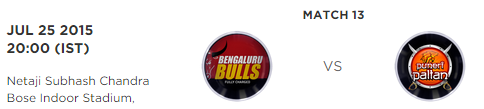PKL 2015 Bengaluru Bulls vs Puneri Paltan Match Highlights Result Score