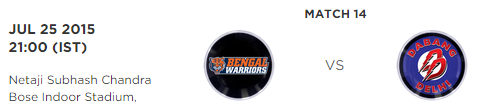 PKL 2015 Bengal Warriors vs Dabang Delhi Match Highlights Result Score