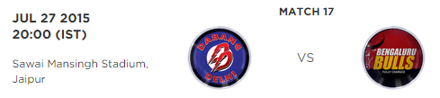 PKL 2015 Dabang Delhi vs Bengaluru Bulls Match Highlights Result Score