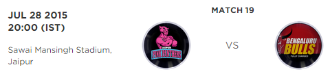 PKL 2015 Jaipur Pink Panthers vs Bengaluru Bulls Match Highlights Result Score