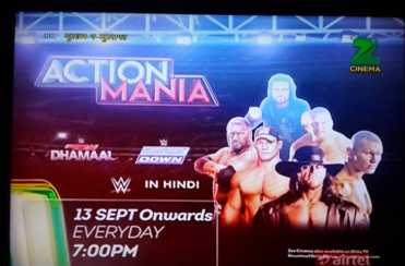 WWE telecast on Zee Cinema in Hindi from 13th September 2015