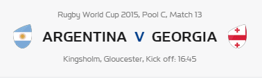 Rugby World Cup RWC 2015 Argentina vs Georgia Pool C Match 13 Live Score Result Team Squad