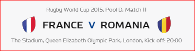 Rugby World Cup RWC 2015 France vs Romania Pool D Match 11 Live Score Result Team Squad