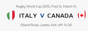Rugby World Cup RWC 2015 Italy vs Canada Pool D Match 14 Live Score Result Team Squad