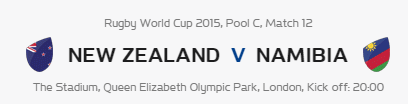 Rugby World Cup RWC 2015 New Zealand vs Namibia Pool C Match 12 Live Score Result Team Squad