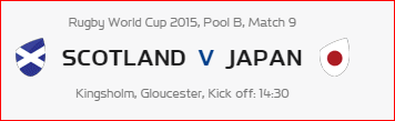Rugby World Cup RWC 2015 Scotland vs Japan Pool B Match 9 Live Score Result Team Squad