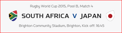 Rugby World Cup RWC 2015 South Africa vs Japan Pool B Match 4 Live Score Result Team Squad