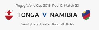 Rugby World Cup RWC 2015 Tonga vs Namibia Pool C Match 20 Live Score Result Team Squad