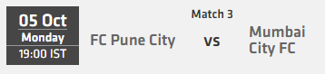 Indian Super League ISL 2015 Match 3 Pune vs Mumbai Live Score Team Squad