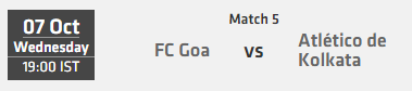 Indian Super League ISL 2015 Match 5 Goa vs Kolkata Live Score Team Squad