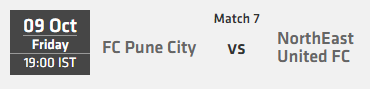Indian Super League ISL 2015 Match 7 Pune vs North East Live Score Team Squad
