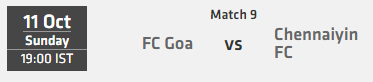Indian Super League ISL 2015 Match 9 Goa vs Chennai Live Score Team Squad